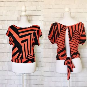 Poetry Red & Black Stripe Open Back Blouse